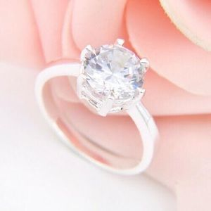 White Cubic Zirconia Silver Ring
